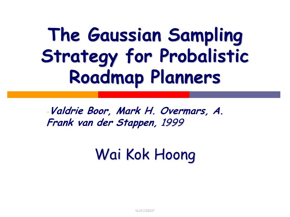 NUS CS5247 The Gaussian Sampling Strategy for Probalistic Roadmap Planners - 1999 - Valdrie Boor, Mark H.