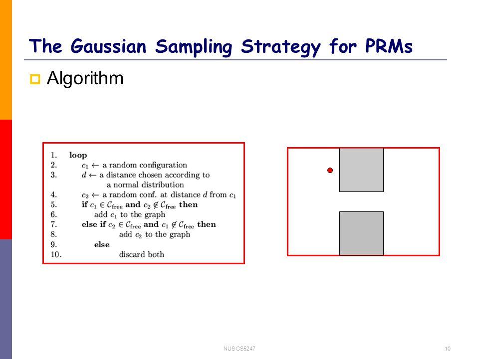 NUS CS524710 The Gaussian Sampling Strategy for PRMs  Algorithm