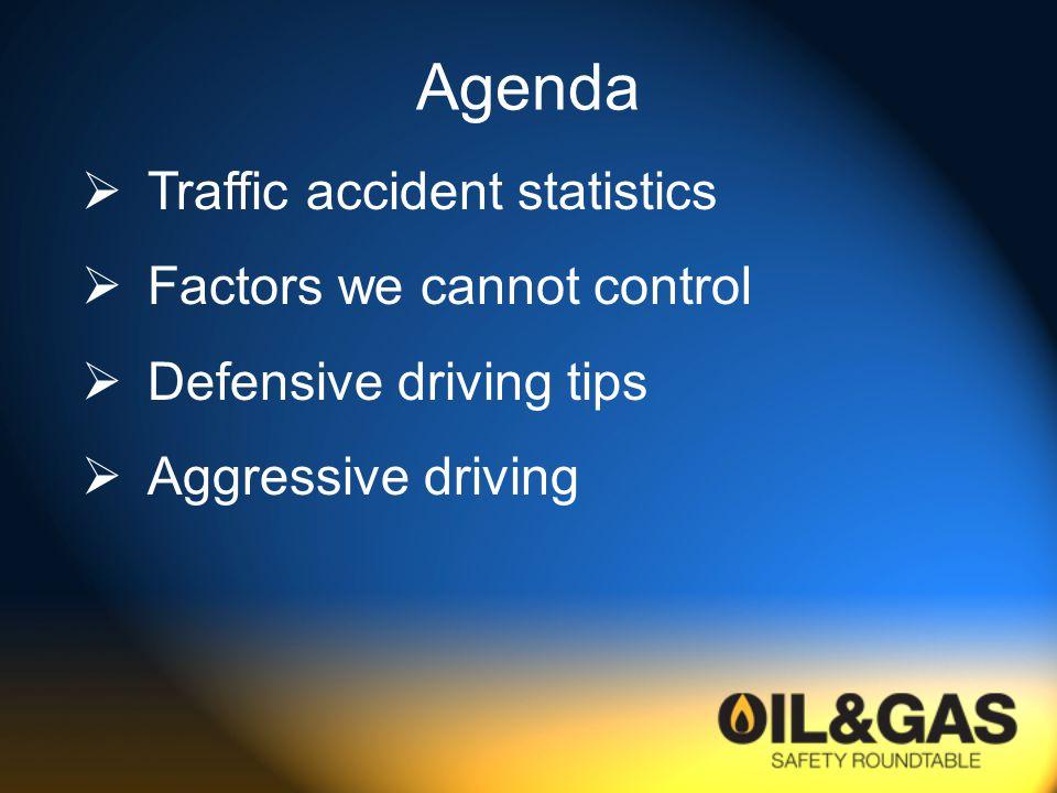 Agenda  Traffic accident statistics  Factors we cannot control  Defensive driving tips  Aggressive driving