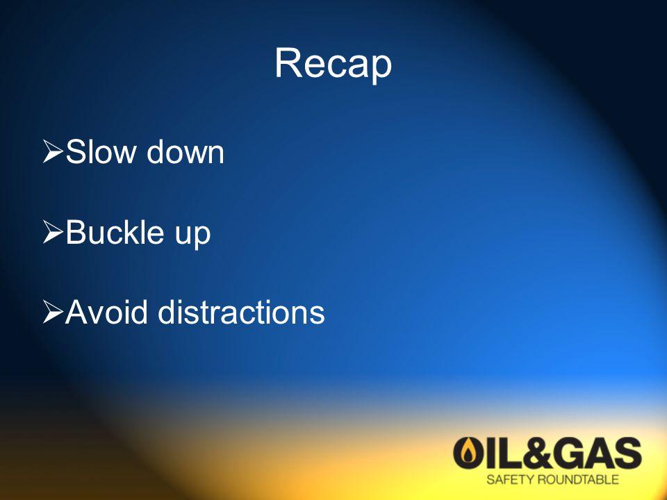 Recap  Slow down  Buckle up  Avoid distractions