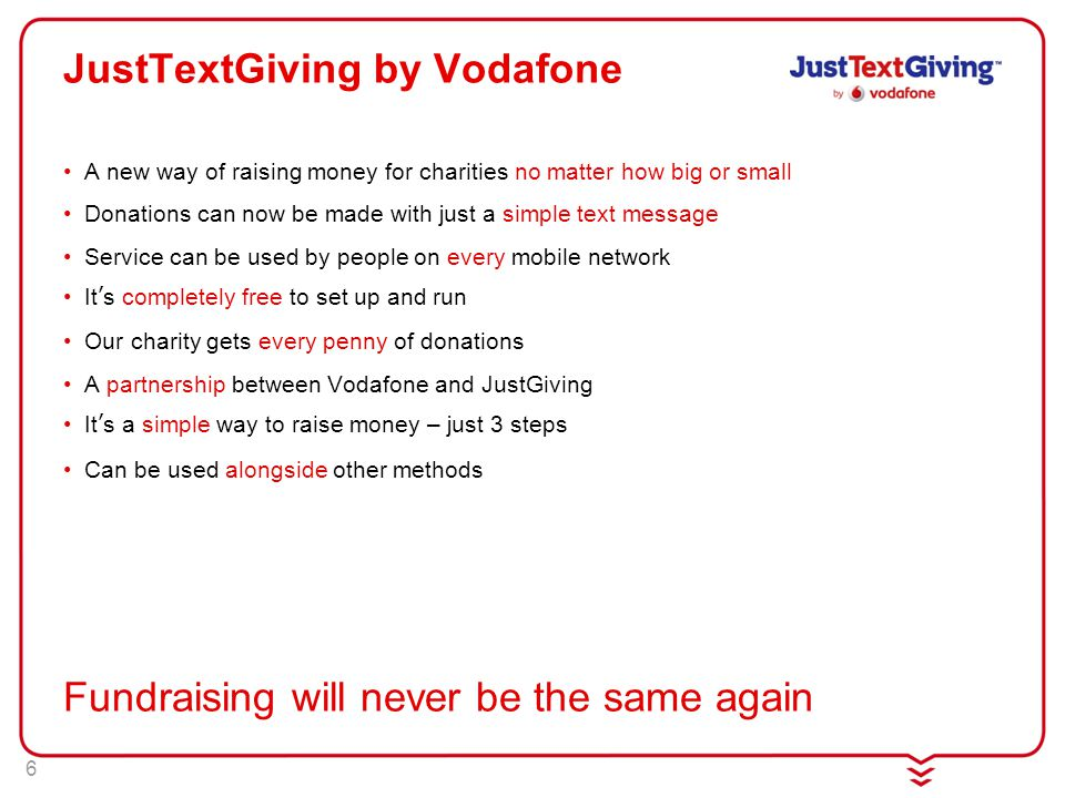 6 JustTextGiving by Vodafone A new way of raising money for charities no matter how big or small Donations can now be made with just a simple text message Service can be used by people on every mobile network It's completely free to set up and run Our charity gets every penny of donations A partnership between Vodafone and JustGiving It's a simple way to raise money – just 3 steps Can be used alongside other methods Fundraising will never be the same again