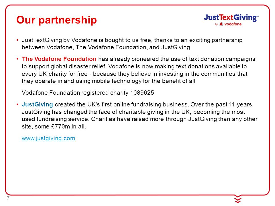 7 Our partnership JustTextGiving by Vodafone is bought to us free, thanks to an exciting partnership between Vodafone, The Vodafone Foundation, and JustGiving The Vodafone Foundation has already pioneered the use of text donation campaigns to support global disaster relief.