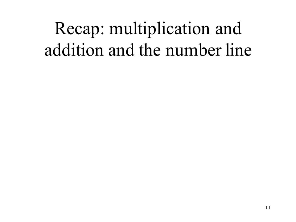 11 Recap: multiplication and addition and the number line