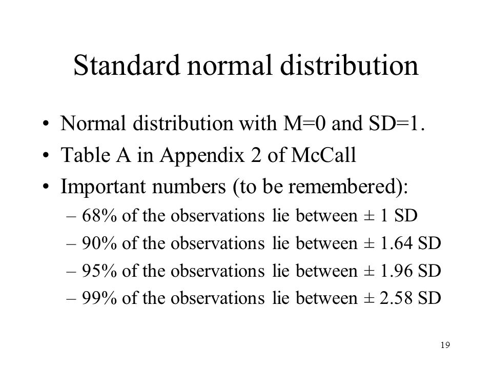 19 Standard normal distribution Normal distribution with M=0 and SD=1.