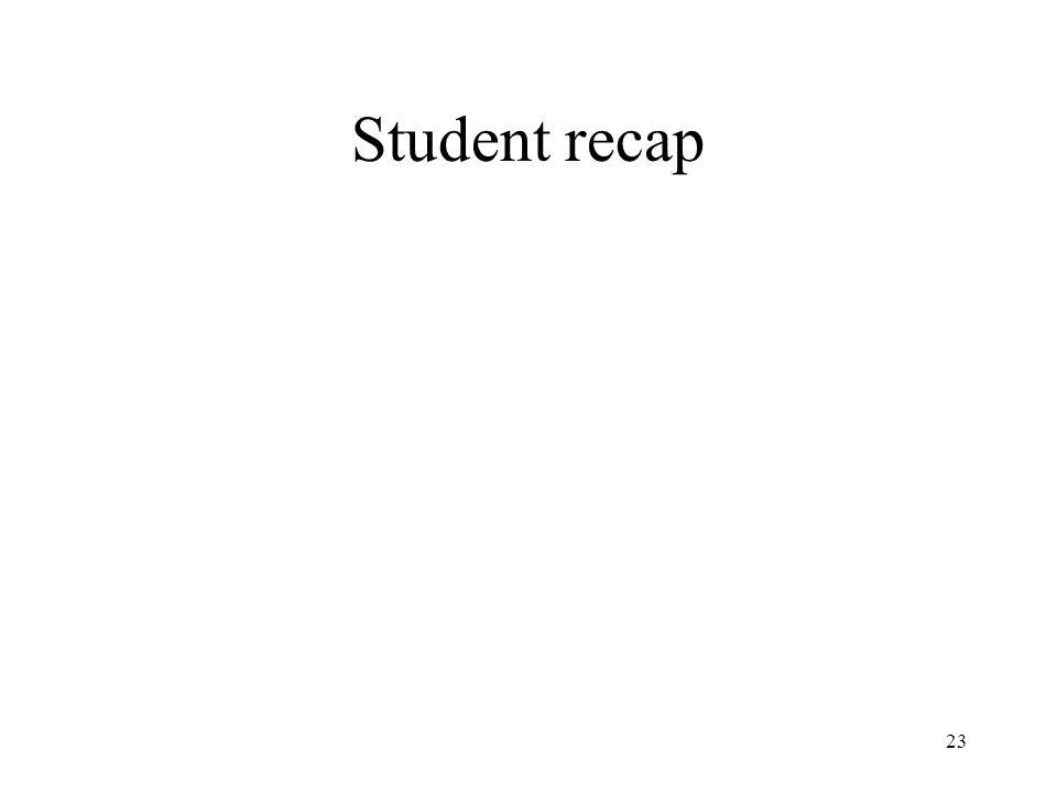23 Student recap