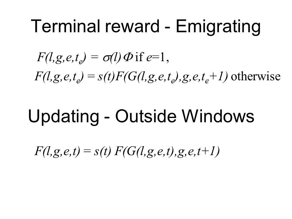 Terminal reward - Emigrating F(l,g,e,t e ) =  (l)  if e=1, F(l,g,e,t e ) = s(t)F(G(l,g,e,t e ),g,e,t e +1) otherwise F(l,g,e,t) = s(t) F(G(l,g,e,t),g,e,t+1) Updating - Outside Windows