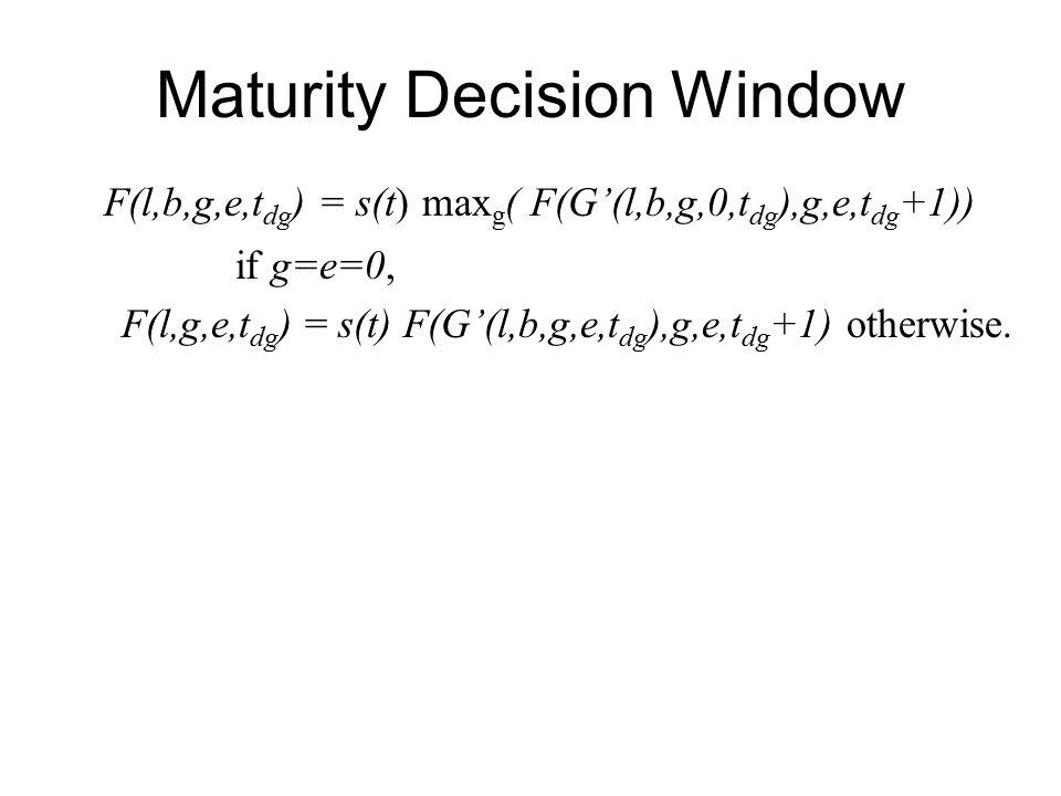 Maturity Decision Window F(l,b,g,e,t dg ) = s(t) max g ( F(G'(l,b,g,0,t dg ),g,e,t dg +1)) if g=e=0, F(l,g,e,t dg ) = s(t) F(G'(l,b,g,e,t dg ),g,e,t dg +1) otherwise.