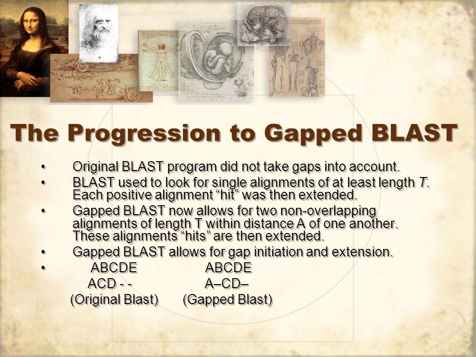 The Progression to Gapped BLAST Original BLAST program did not take gaps into account.