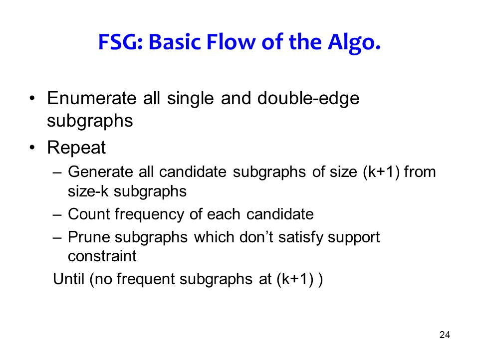24 FSG: Basic Flow of the Algo. Enumerate all single and double-edge subgraphs Repeat –Generate all candidate subgraphs of size (k+1) from size-k subg