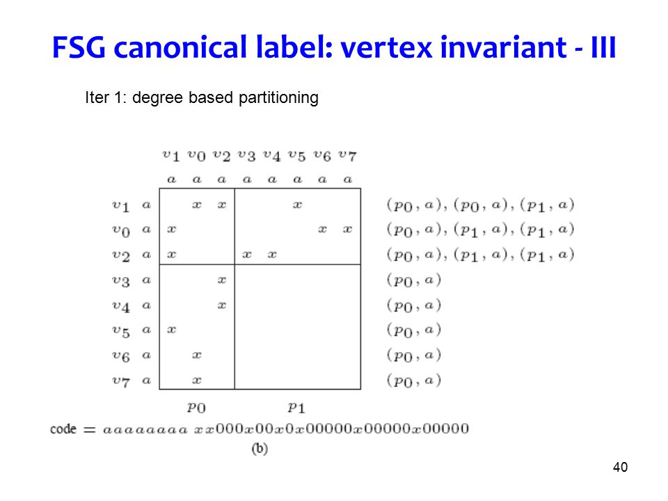 40 FSG canonical label: vertex invariant - III Iter 1: degree based partitioning
