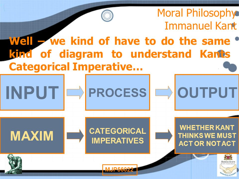 8 MJP56022 Moral Philosophy Immanuel Kant Well – we kind of have to do the same kind of diagram to understand Kants Categorical Imperative… INPUT PROC