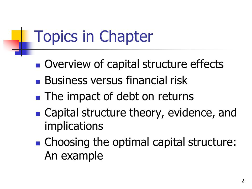 2 Topics in Chapter Overview of capital structure effects Business versus financial risk The impact of debt on returns Capital structure theory, evide
