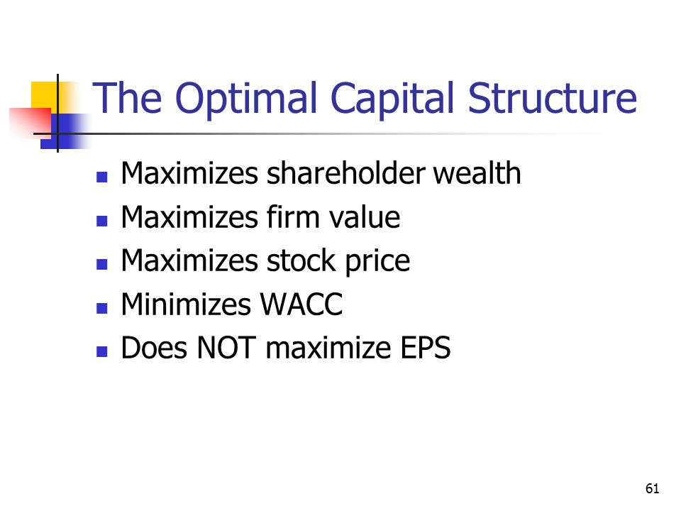 61 The Optimal Capital Structure Maximizes shareholder wealth Maximizes firm value Maximizes stock price Minimizes WACC Does NOT maximize EPS