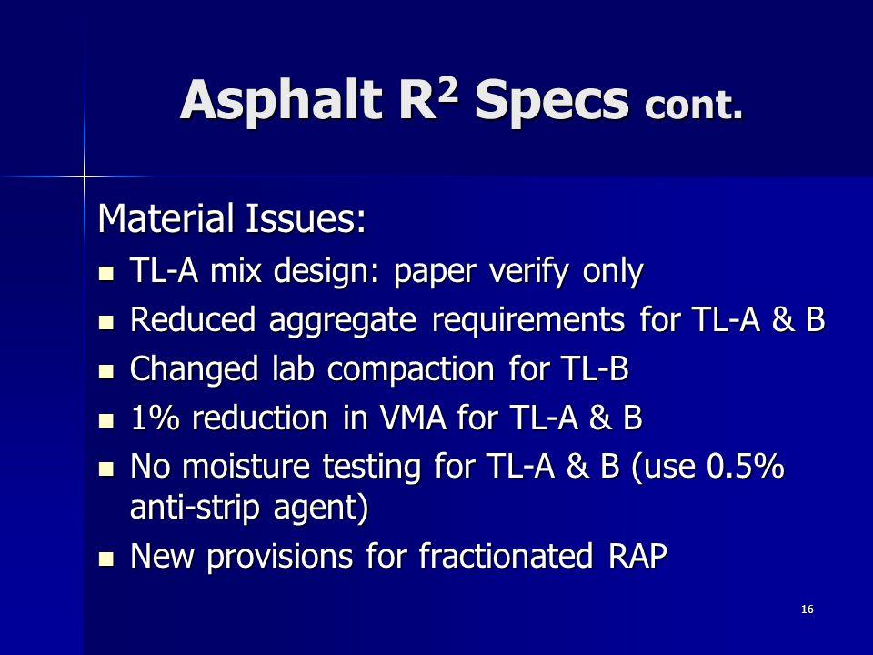 16 Asphalt R 2 Specs cont.