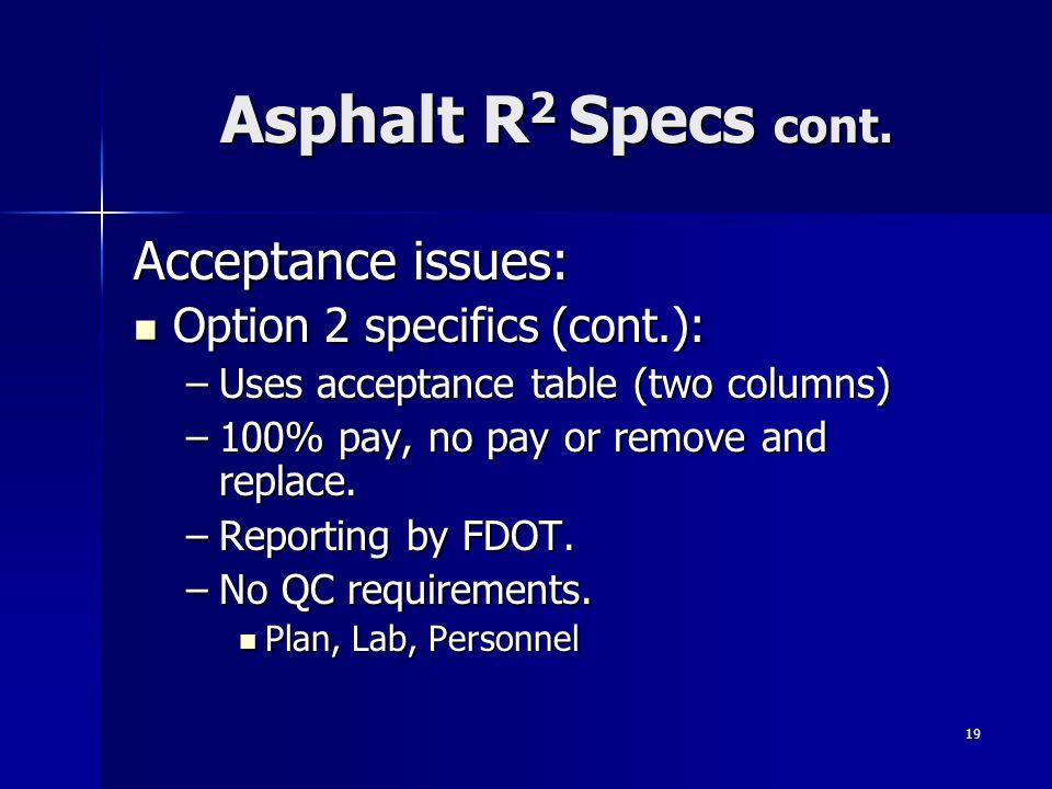 19 Asphalt R 2 Specs cont.