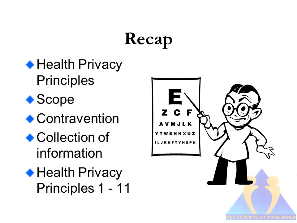 Recap Health Privacy Principles Scope Contravention Collection of information Health Privacy Principles 1 - 11