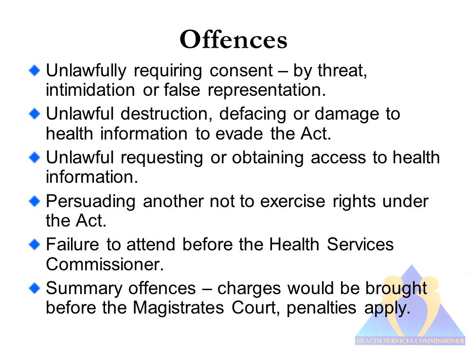 Offences Unlawfully requiring consent – by threat, intimidation or false representation.