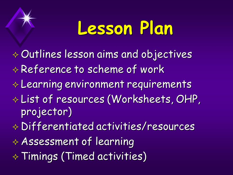 Lesson Plan ² Outlines lesson aims and objectives ² Reference to scheme of work ² Learning environment requirements ² List of resources (Worksheets, O