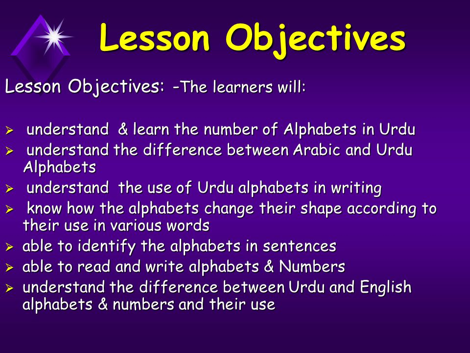 Lesson Objectives Lesson Objectives: - The learners will:  understand & learn the number of Alphabets in Urdu  understand the difference between Ara