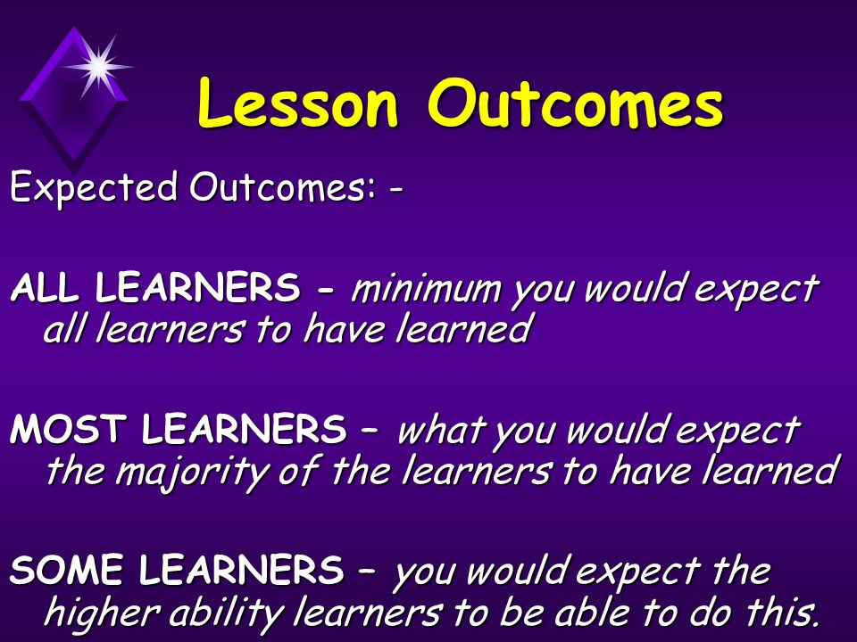 Lesson Outcomes Expected Outcomes: - ALL LEARNERS - minimum you would expect all learners to have learned MOST LEARNERS – what you would expect the ma
