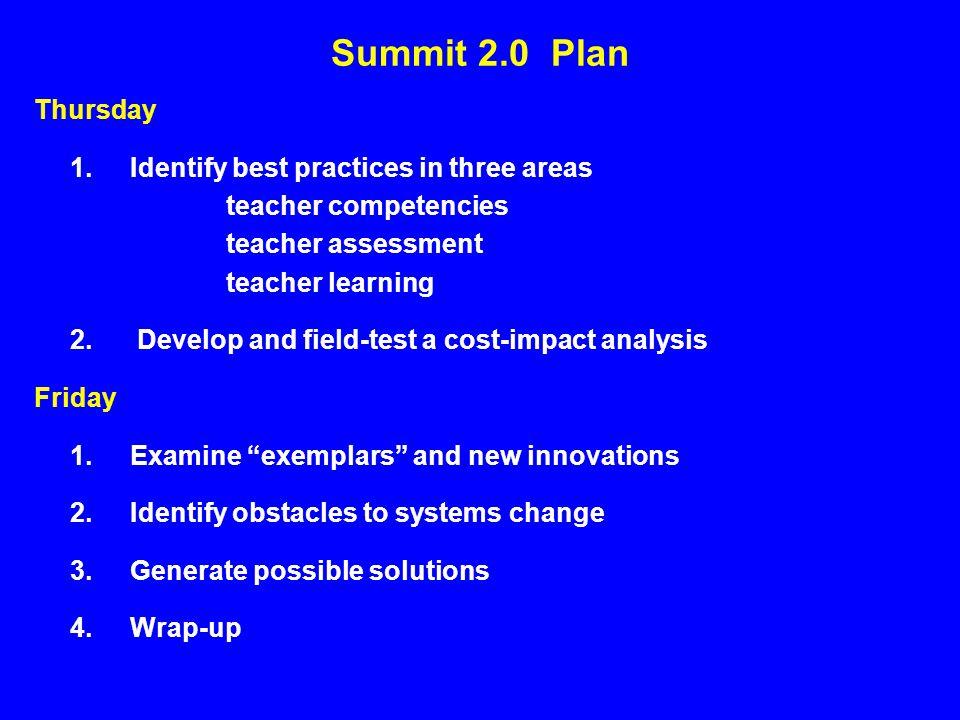 Summit 2.0 Plan Thursday 1.Identify best practices in three areas teacher competencies teacher assessment teacher learning 2.