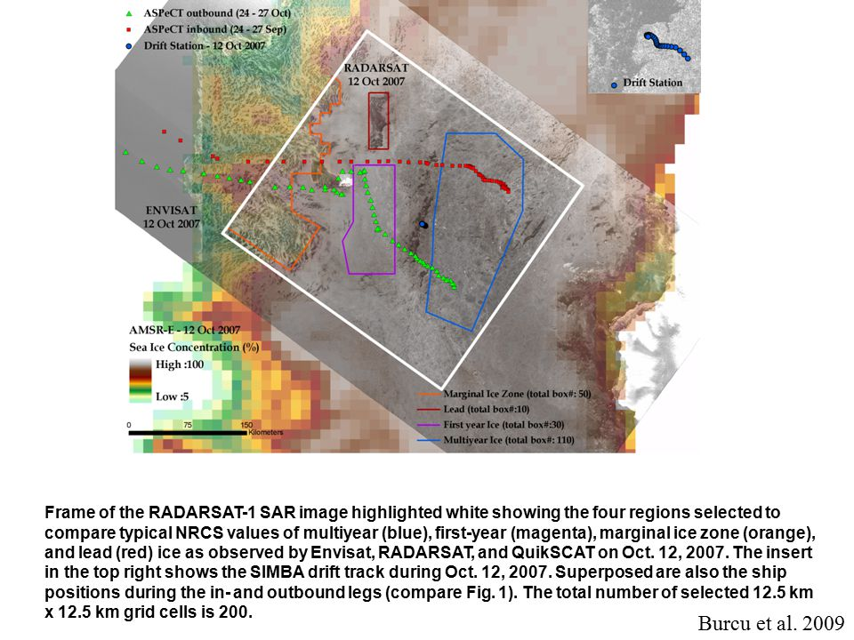 Frame of the RADARSAT-1 SAR image highlighted white showing the four regions selected to compare typical NRCS values of multiyear (blue), first-year (magenta), marginal ice zone (orange), and lead (red) ice as observed by Envisat, RADARSAT, and QuikSCAT on Oct.