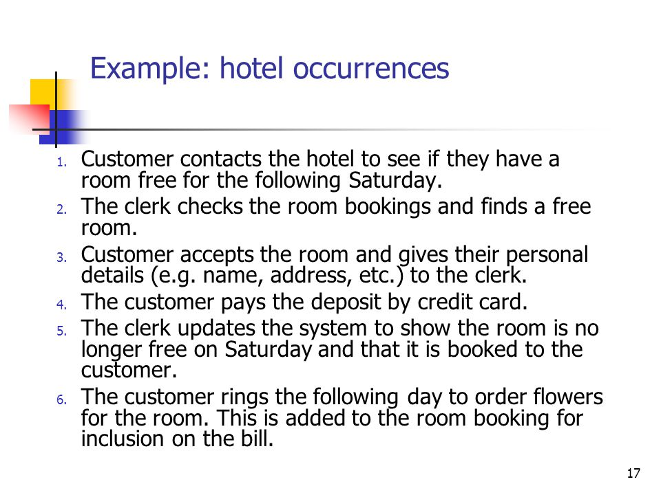 17 Example: hotel occurrences 1.
