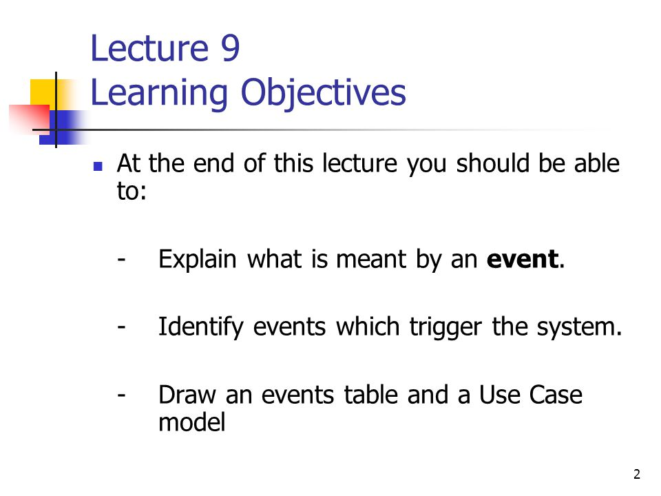 2 Lecture 9 Learning Objectives At the end of this lecture you should be able to: - Explain what is meant by an event.