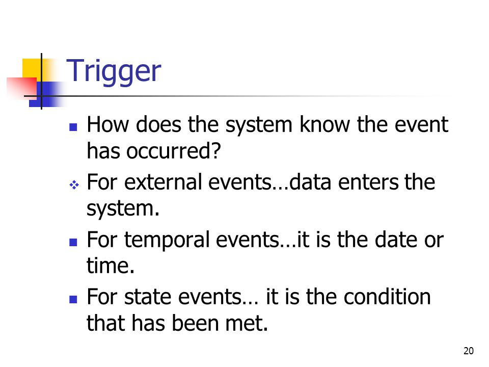 20 Trigger How does the system know the event has occurred.