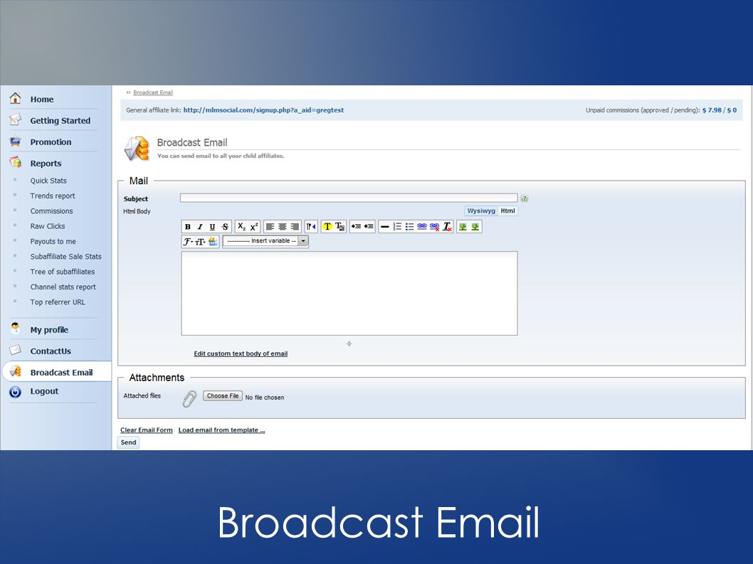 Broadcast Email