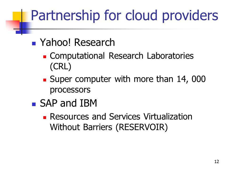 Partnership for cloud providers Yahoo.