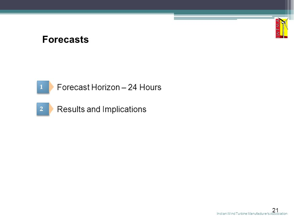 21 Forecasts 1 1 2 2 Forecast Horizon – 24 Hours Results and Implications Indian Wind Turbine Manufacturer s Association