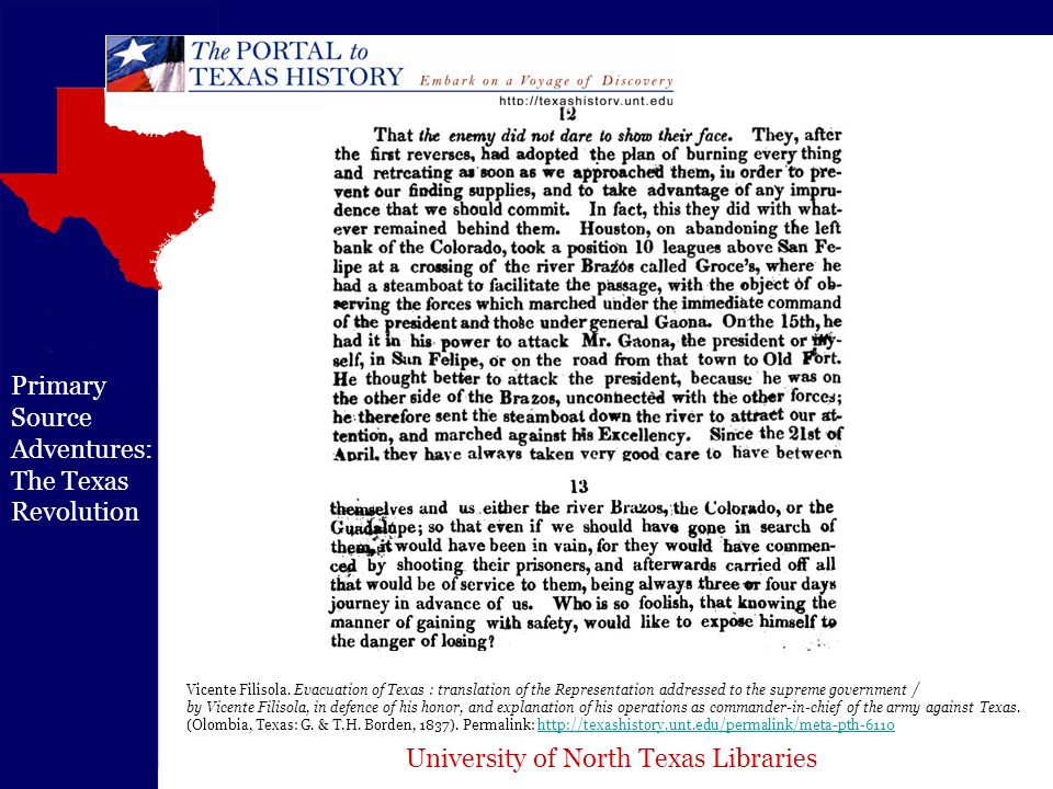 University of North Texas Libraries Primary Source Adventures: The Texas Revolution Vicente Filisola.