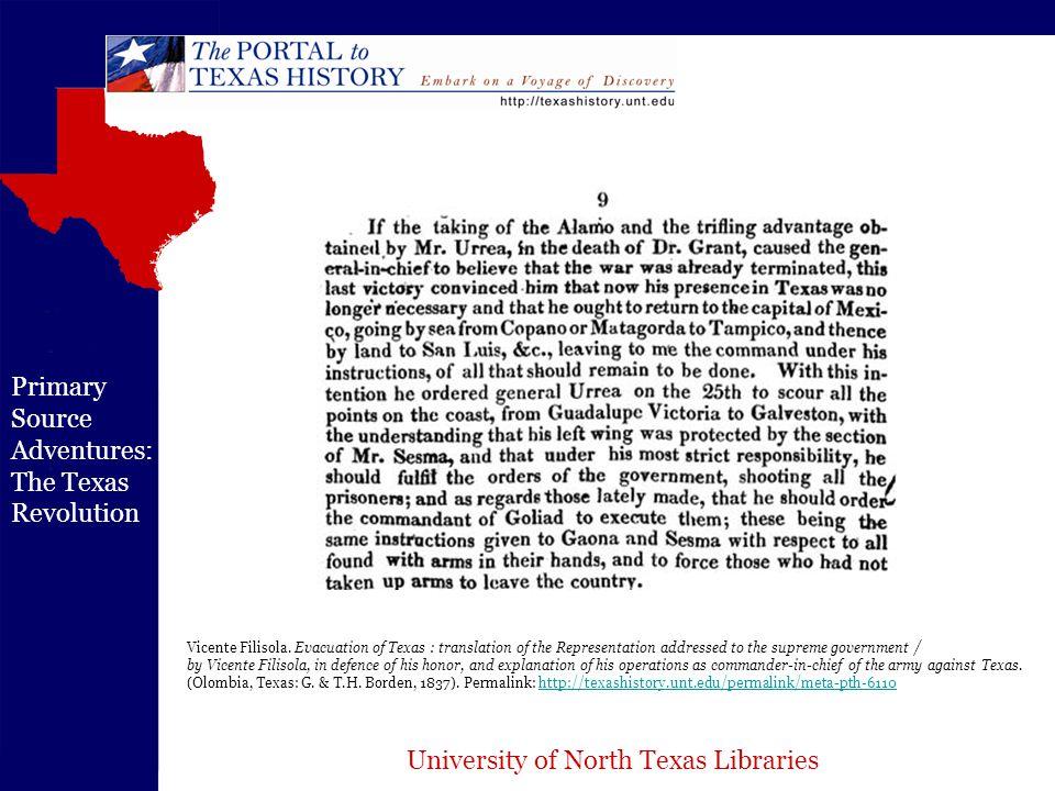 University of North Texas Libraries Primary Source Adventures: The Texas Revolution Houston, Andrew Jackson.