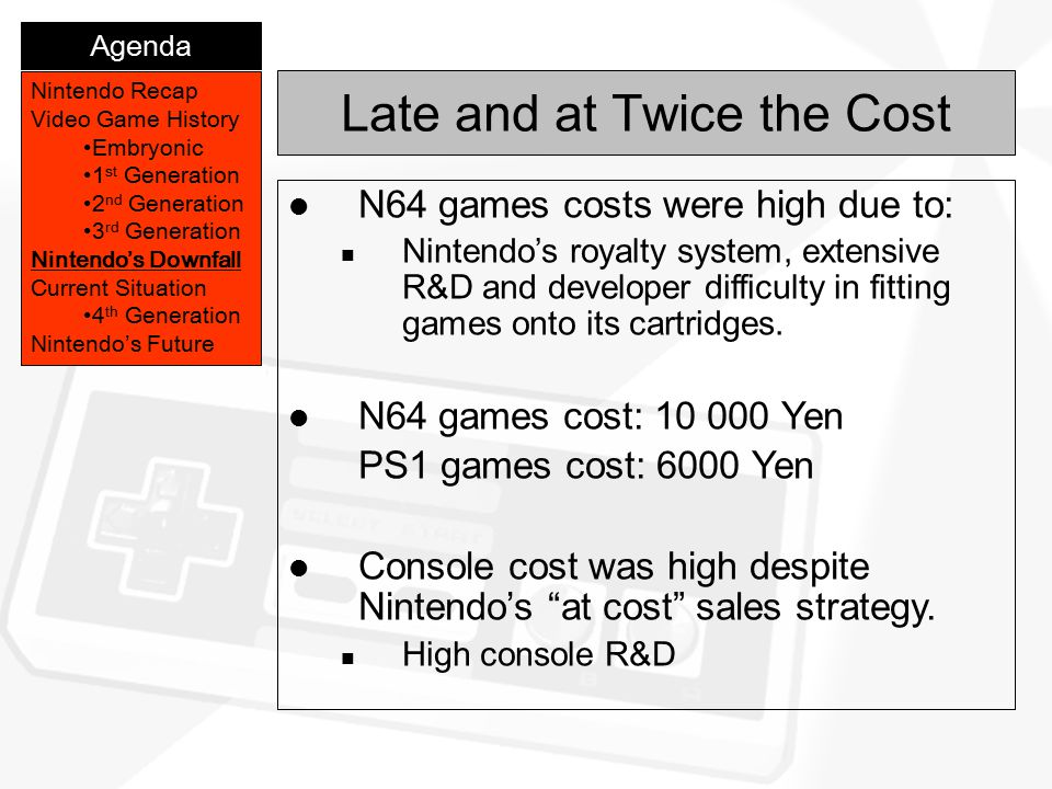 Late and at Twice the Cost Nintendo Recap Video Game History Embryonic 1 st Generation 2 nd Generation 3 rd Generation Nintendo's Downfall Current Sit
