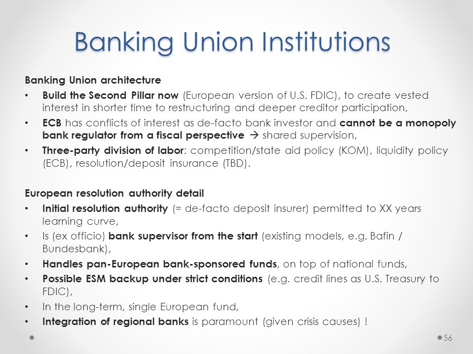 Banking Union Institutions Banking Union architecture Build the Second Pillar now (European version of U.S.