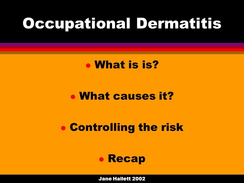 Jane Hallett 2002 Occupational Dermatitis l What is is.