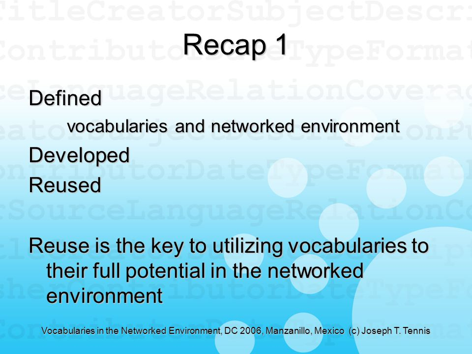 Vocabularies in the Networked Environment, DC 2006, Manzanillo, Mexico (c) Joseph T.