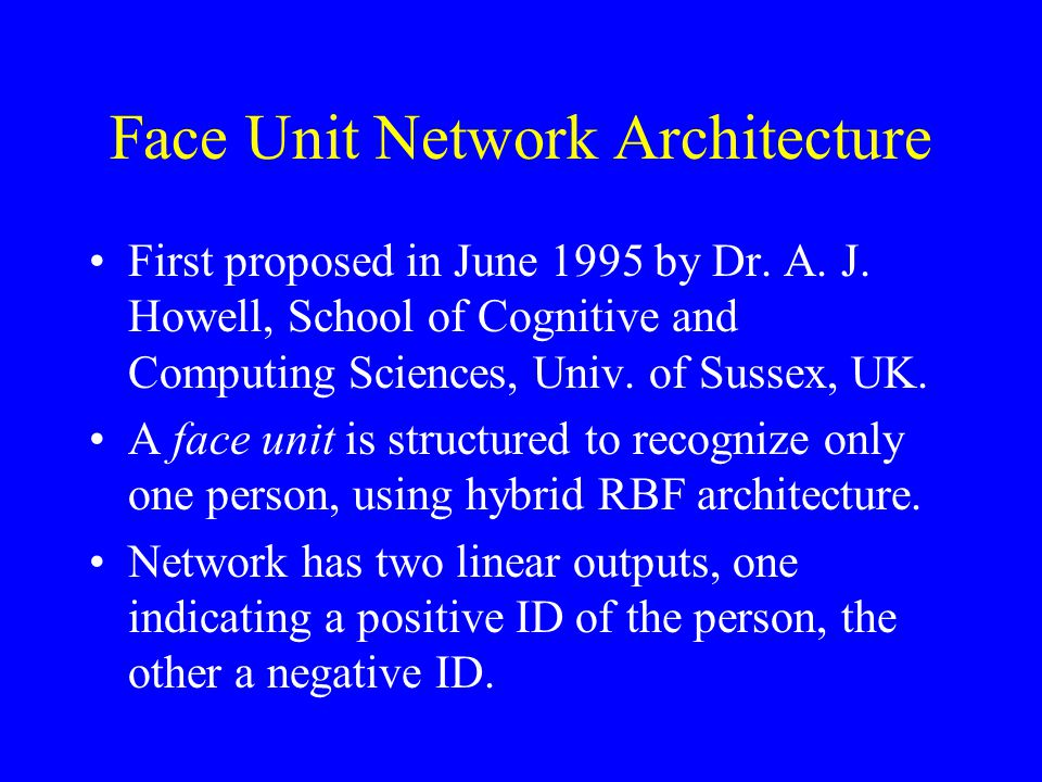 Face Unit Network Architecture First proposed in June 1995 by Dr.