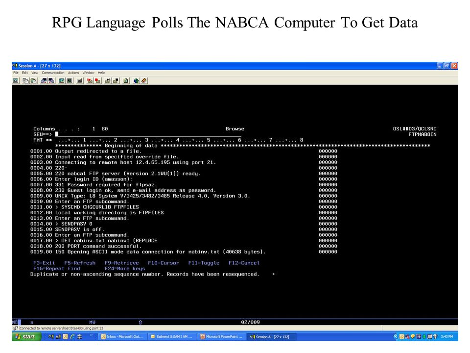 RPG Language Polls The NABCA Computer To Get Data