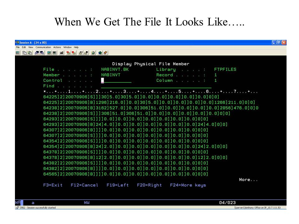 When We Get The File It Looks Like…..