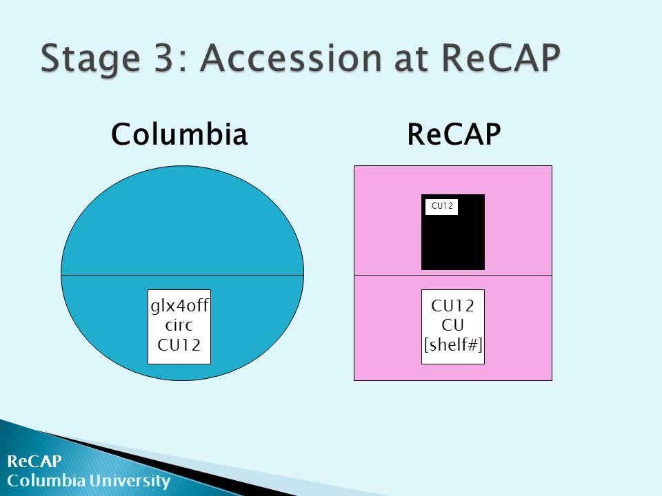 ReCAP Columbia University ColumbiaReCAP glx4off circ CU12 CU [shelf#] CU12