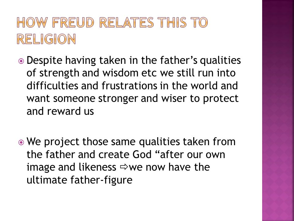  Despite having taken in the father's qualities of strength and wisdom etc we still run into difficulties and frustrations in the world and want someone stronger and wiser to protect and reward us  We project those same qualities taken from the father and create God after our own image and likeness  we now have the ultimate father-figure