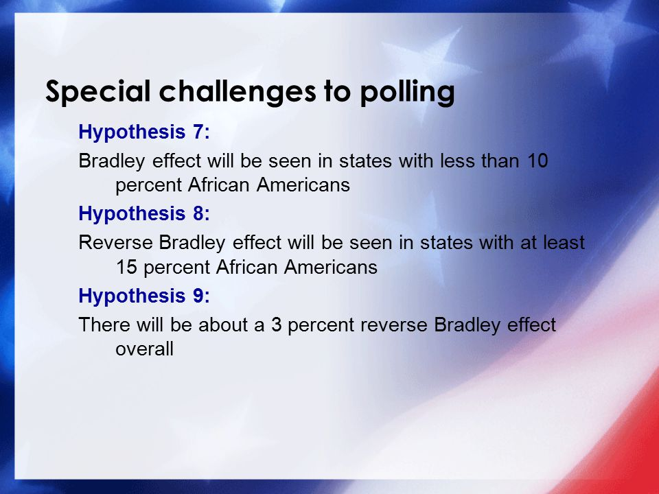 Special challenges to polling Hypothesis 7: Bradley effect will be seen in states with less than 10 percent African Americans Hypothesis 8: Reverse Bradley effect will be seen in states with at least 15 percent African Americans Hypothesis 9: There will be about a 3 percent reverse Bradley effect overall