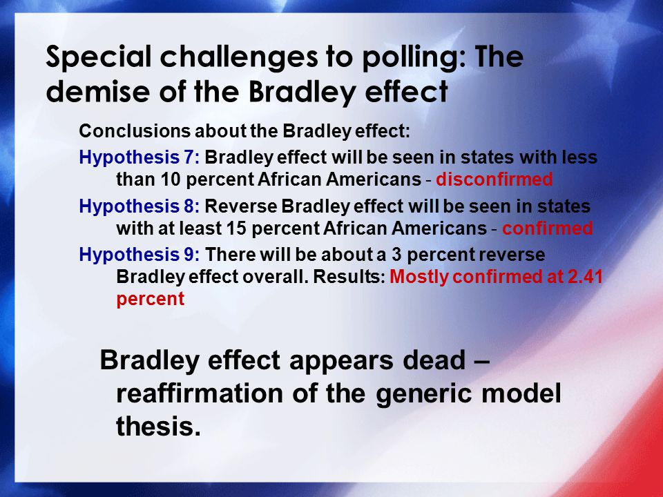 Special challenges to polling: The demise of the Bradley effect Conclusions about the Bradley effect: Hypothesis 7: Bradley effect will be seen in states with less than 10 percent African Americans - disconfirmed Hypothesis 8: Reverse Bradley effect will be seen in states with at least 15 percent African Americans - confirmed Hypothesis 9: There will be about a 3 percent reverse Bradley effect overall.