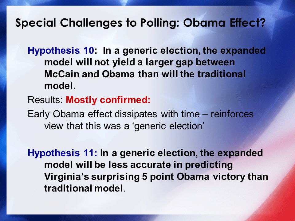 Special Challenges to Polling: Obama Effect.