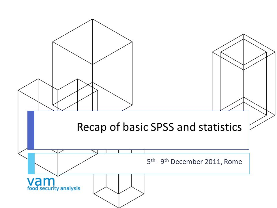 Recap of basic SPSS and statistics 5 th - 9 th December 2011, Rome