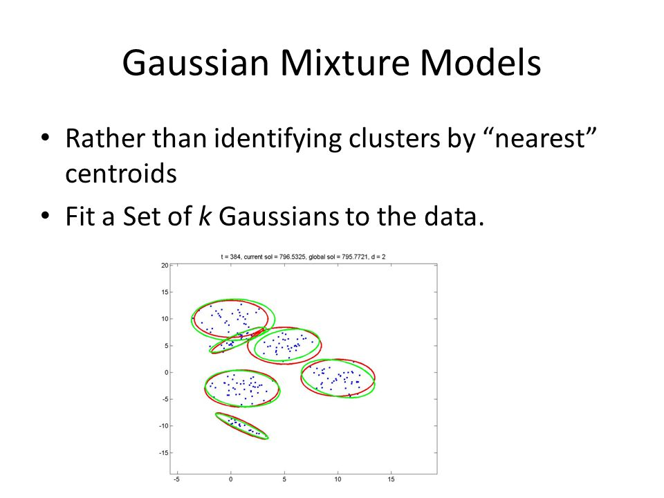 "Gaussian Mixture Models Rather than identifying clusters by ""nearest"" centroids Fit a Set of k Gaussians to the data."