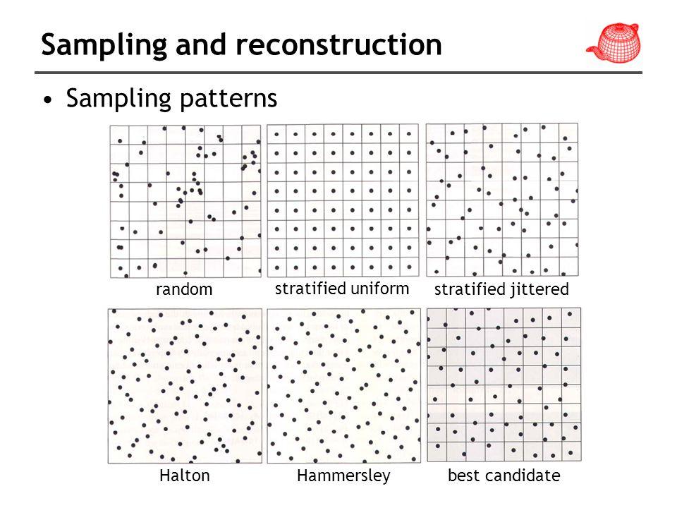 Sampling and reconstruction Sampling patterns random stratified uniform stratified jittered HaltonHammersleybest candidate
