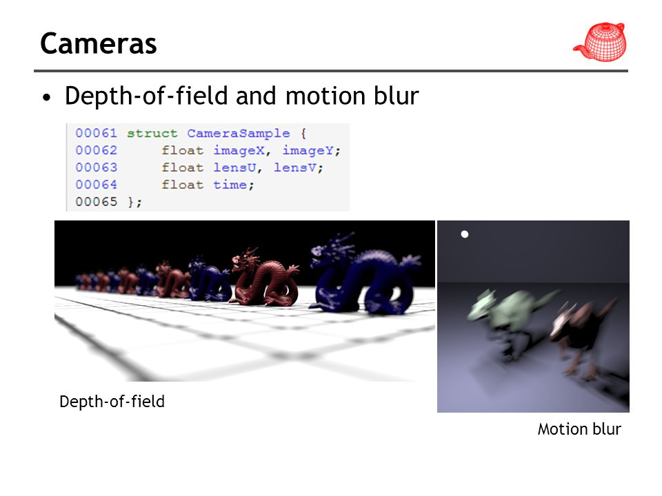 Cameras Depth-of-field and motion blur Depth-of-field Motion blur